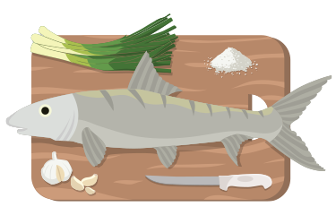 Colored illustration of a bonefish, cutting board, and ingredients.