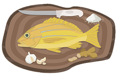 Colored illustration of a snapper (taape) fish on a cutting board, with salt, garlic, ginger, and cutting knife.