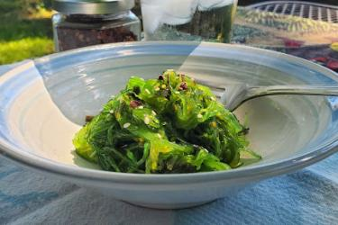 A bowl of seaweed salad topped with red pepper flakes.