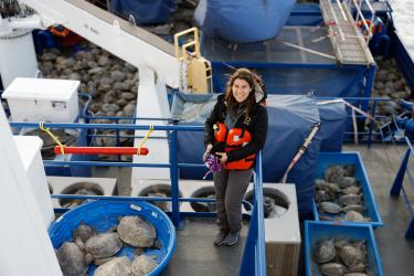Woman wearing an organ life vest stands on a blue boat surrounded by dozens of green sea turtles.