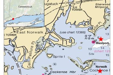 Map of western Connecticut, zooming in on Norwalk and Westport, with stars indicating two study sites, one in each town, in the local waters.