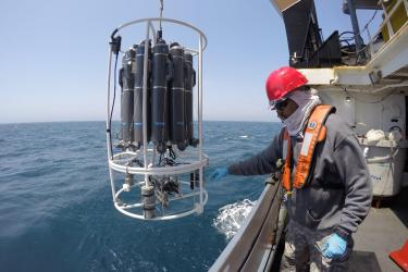 At sea, lowering sampling equipment off side of ship.
