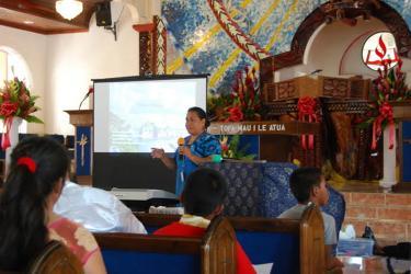 Fishery biologist, Fatima Sauafea-Leau, hosting a climate resiliency project in Vatia Village, American Samoa.ri