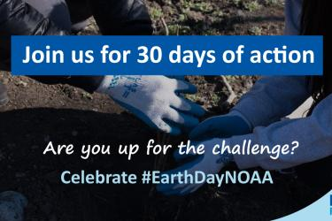 """volunteers planting vegetation in the soil with text saying """"Join Us for 30 days of action. Are you up for the challenge? Celebrate #EarthDayNOAA"""""""
