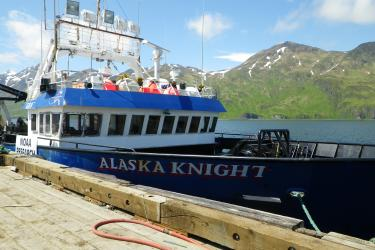 Photo of the chartered research vessel Alaska Knight at dock.
