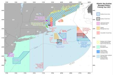 Map of managed waters in sea scallop fishery management plan for FY 21