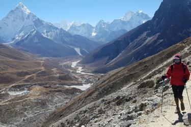 Laura Dias, hiking in Nepal, near Everest Base Camp.