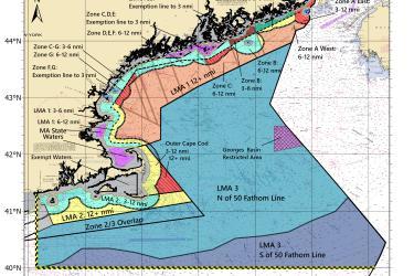 Map of minimum traps/trawl in Northeast REgion