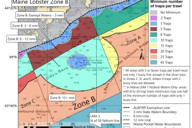 Minimum traps per trawl for lobster Maine Zone B