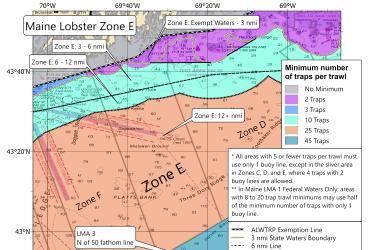 Minimum traps per trawl for lobster Maine Zone E