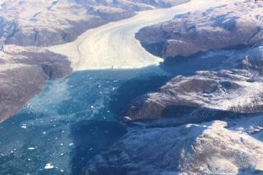 Tongue of ice flowing into the sea in Greenland.