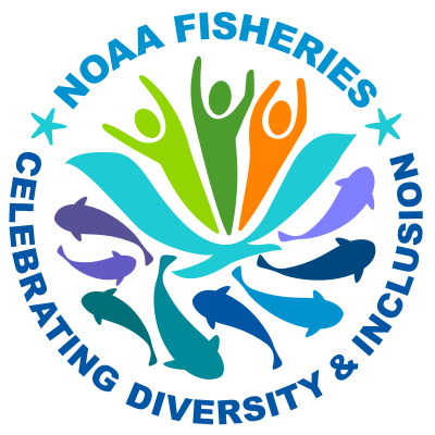 "A graphic icon that says ""NOAA Fisheries: Celebrating Diversity & Inclusion"" and shows people in many colors above and fish and marine mammals below"