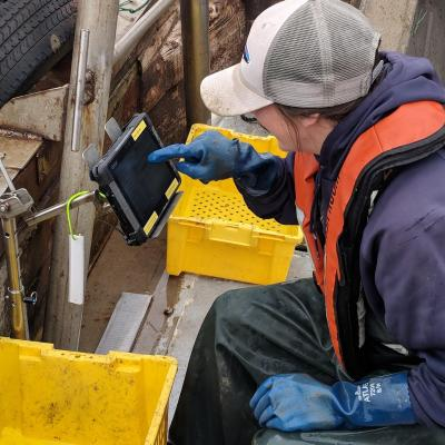 An observer uses OPTECS in an open back deck marine fishing environment.