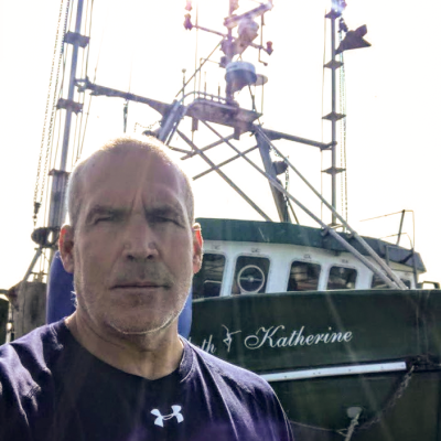 Stephen Arnold selfie with his fishing vessel.