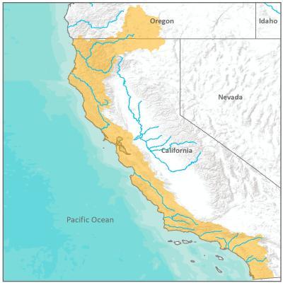 Map of California Coastal Office boundary