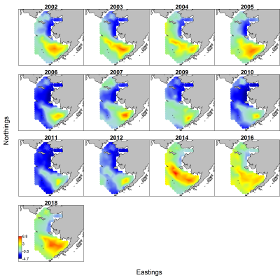 Heat map figures showing fish distribution and density in the eastern Bering Sea.