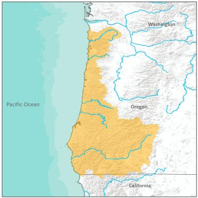 Map of Oregon Coast branch boundary