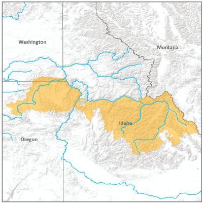 Map of Southern Snake River branch boundary