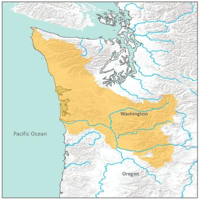 Map of Washington Coast and Lower Columbia River branch boundary