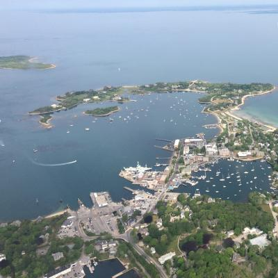 Aerial view of the village of Woods Hole, Massachusetts on Cape Cod