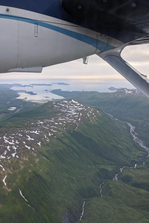 Aerial photo of Kodiak Island from NOAA Twin Otter Aircraft.