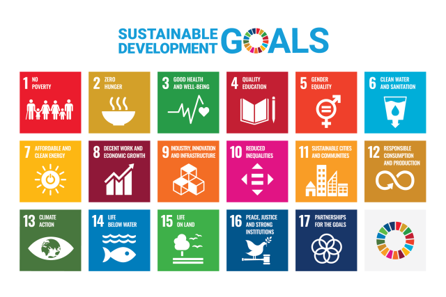 List of all 17 sustainable development goals with the United Nations logo.