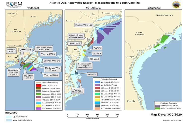 Offshore wind lease and project areas on Atlantic