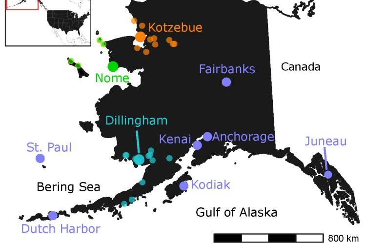 Map image showing locations of Alaska food banks distribution centers.