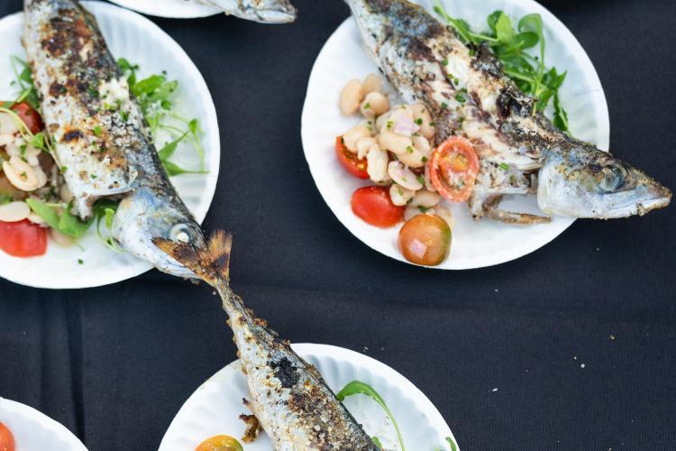 Whole grilled pacific mackerel, roquette, heirloom tomato, hazelnut and borlotti bean salad