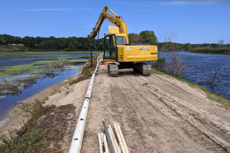Construction equipment in a wetland