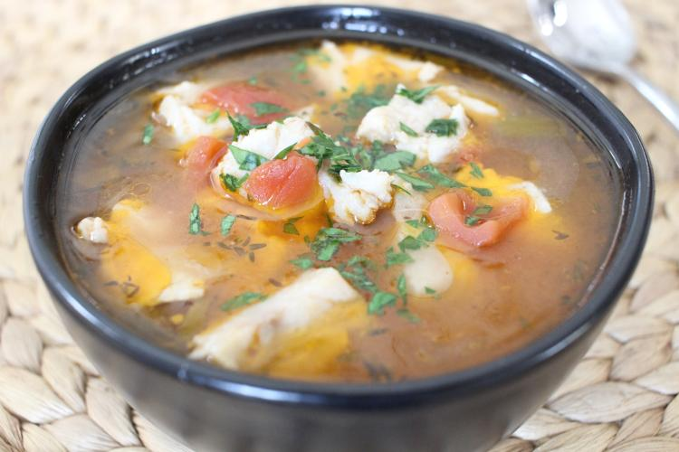 Photo of fresh bluefish and vegetable soup.
