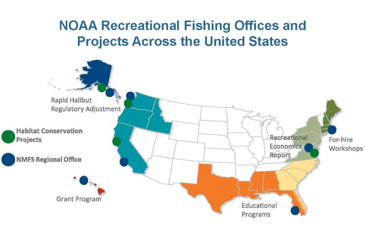 A map showing NOAA's recreational fishing offices and projects around the country.
