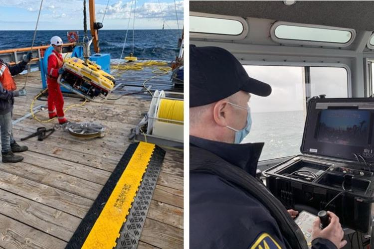 OLE enforcement officers use a remotely operated vehicle to inspect offshore lobster gear.