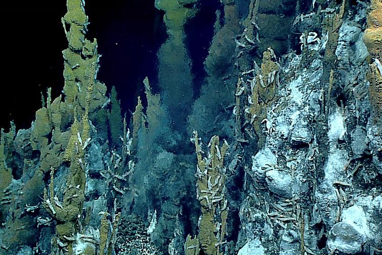 Underwater hydrothermal-vent chimney