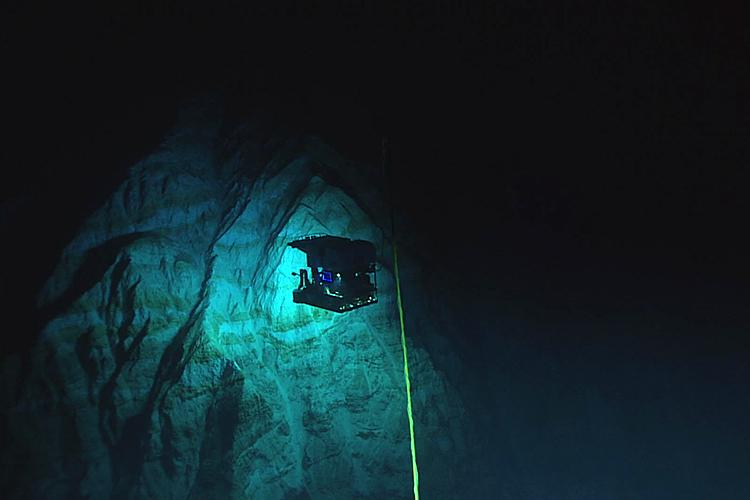 Remotely operated vehicle underwater at Chamorro Seamount.