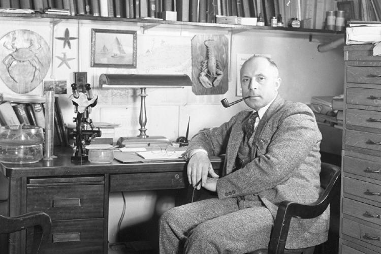 Victor Loosanoff in his office .