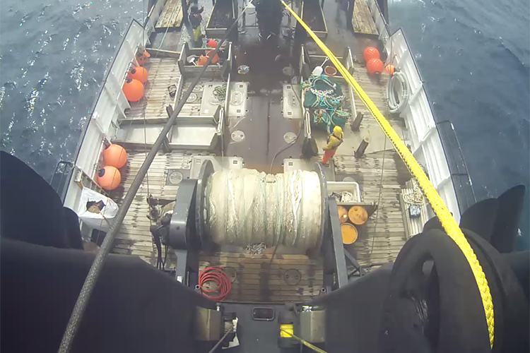 Birdseye eye from and electronic monitoring camera on a fishing vessel