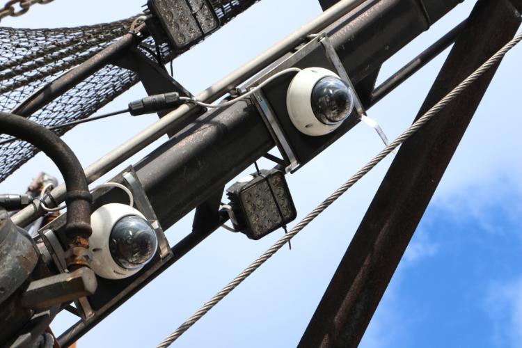 Close up of electronic monitoring camera