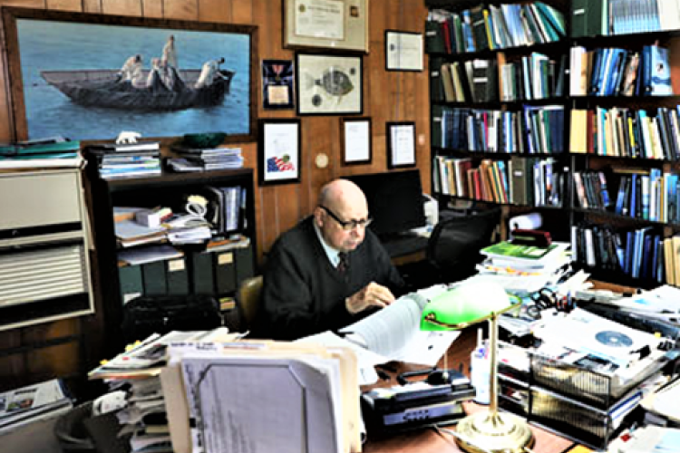 Ken Sherman at work in his office.