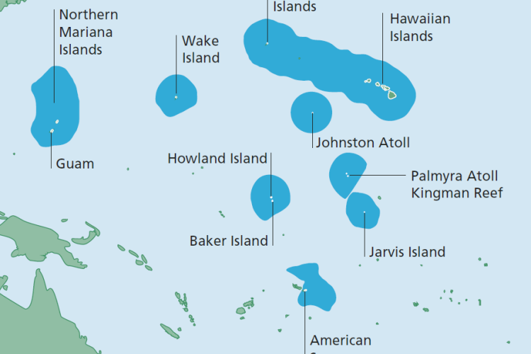 Map of the Pacific Islands region with EEZ areas.