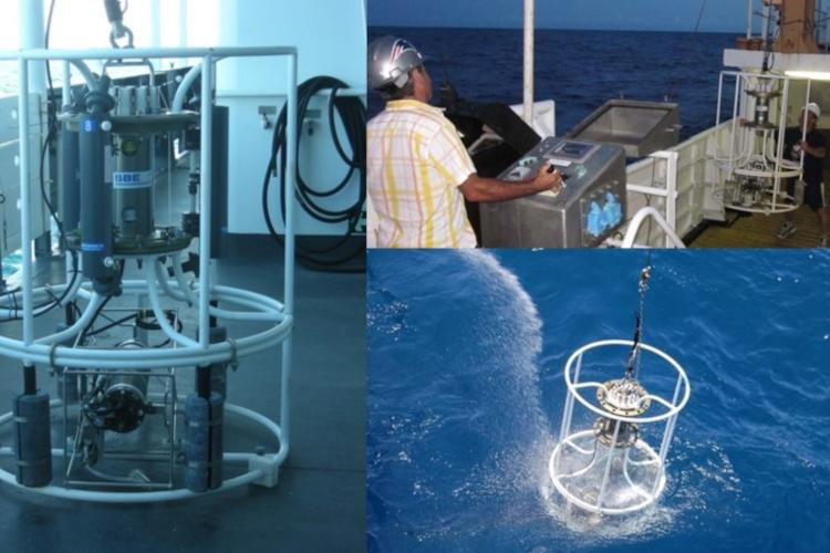 multiple views of CTD (conductivity, temperature, depth) device deployment and retrieval