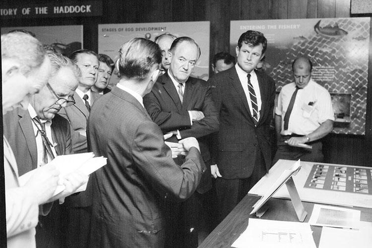 A crowd of people, including Governer John Volpe,stands at left behind Woods Hole Lab director Herbert Graham (with back to camera) talking to Vice President Humprhey and Senator Edward Kennedy. They are standing at a table of exhibits in the Woods Hole Aquarium. Three big posters about fisheries hang on the wall in the background.