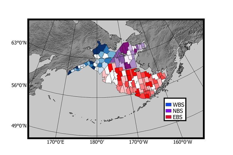 A map of the Bering Sea showing study areas for the western, eastern and northern Bering Sea.