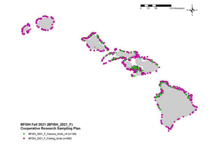 A map showing the location of the 650 fishing stations and 100 camera stations to be sampled during the 2021 BFISH survey.