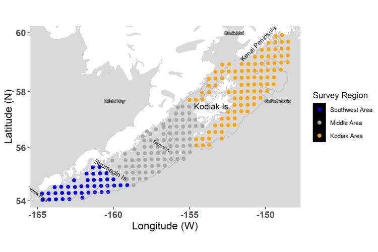 Map with latitude and longitude borders showing survey region stations from the Kenai Peninsula, Kodiak Island and Shumagin Island areas.