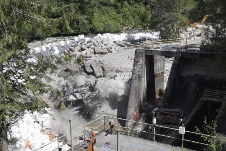 Dam undergoing demolition