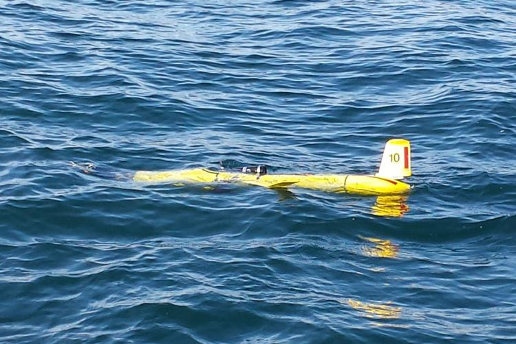 Underwater glider floating at the surface of the ocean.