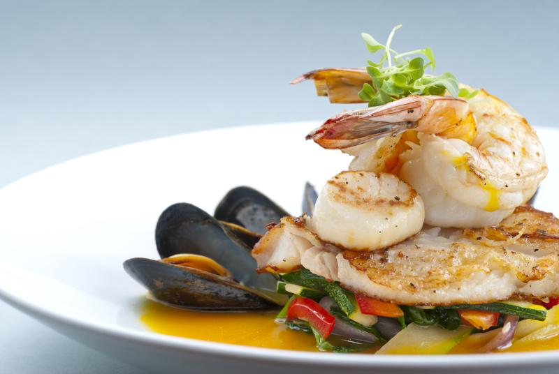 Shrimp, scallop, and fish dish