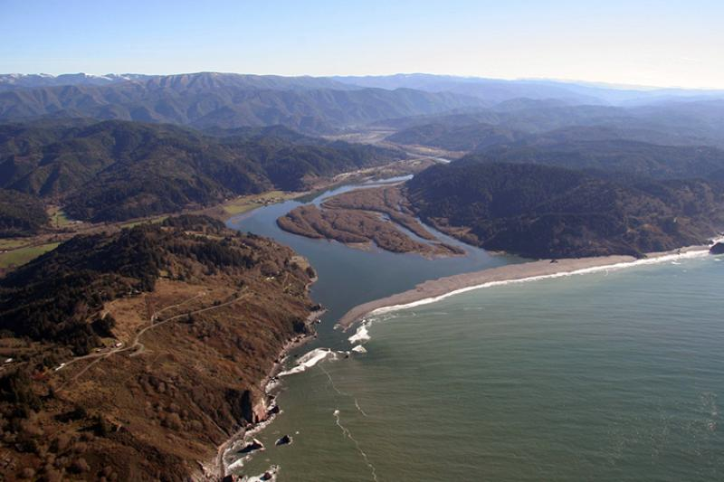 Aerial photo of the mouth of the Klamath River