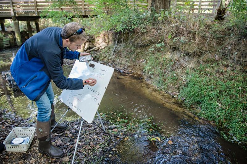 An educator standing by a stream adds data to a graph.